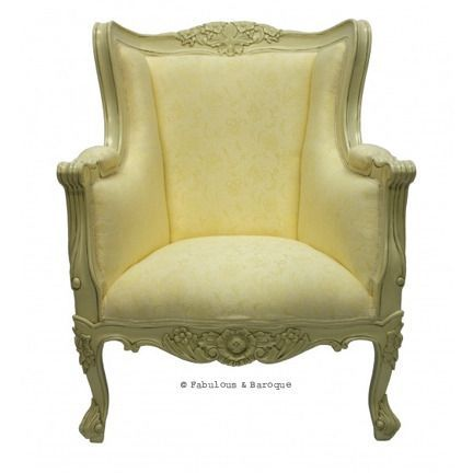 Aveline French Wing Back Chair - Ivory www.fabulousandbaroque.com