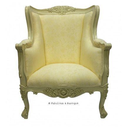 Aveline French Wing Back Chair - Ivory www.fabulousandbaroque.com