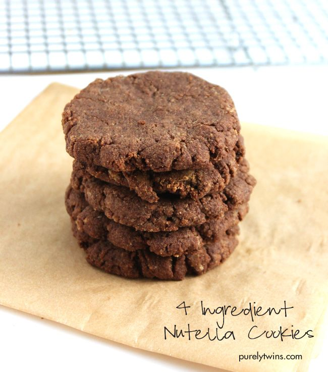 How to make easy 4 ingredient nutella cookies that are grain, gluten and egg-free.