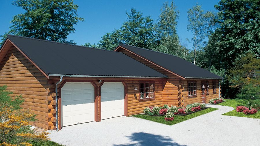 Ranch-style log home is big on character! The Portsmouth log home ...