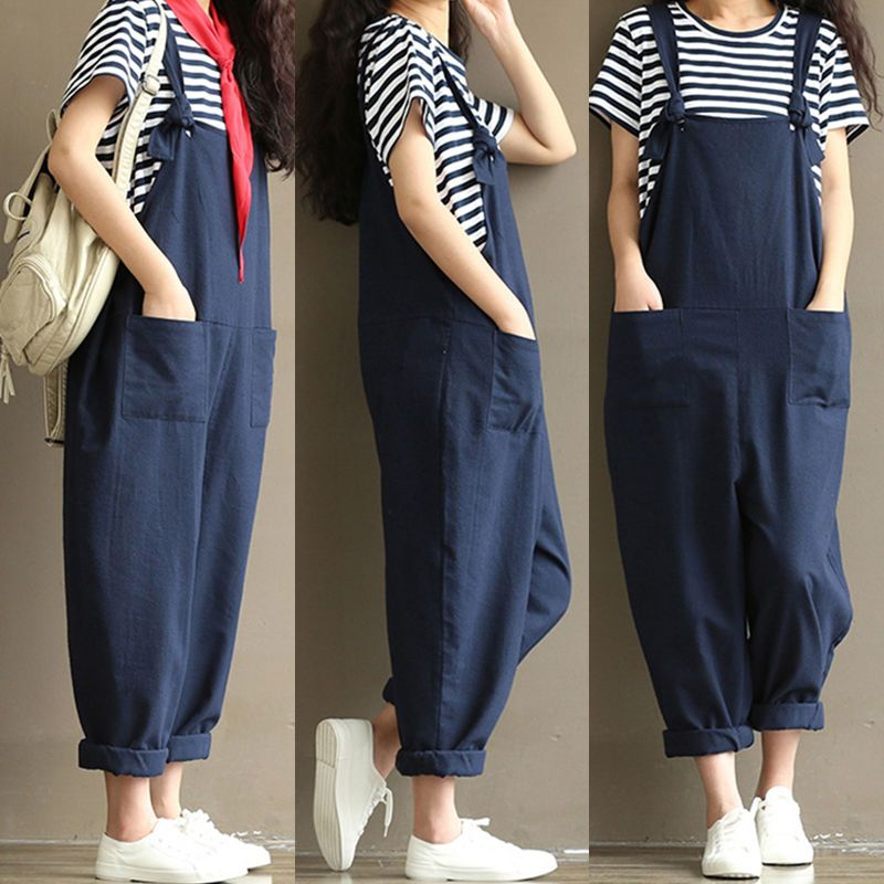 51a2618ee7ef M-3Xl Women Casual Strap Loose Baggy Wide Leg Jumpsuit Romper Overalls Long  Pant
