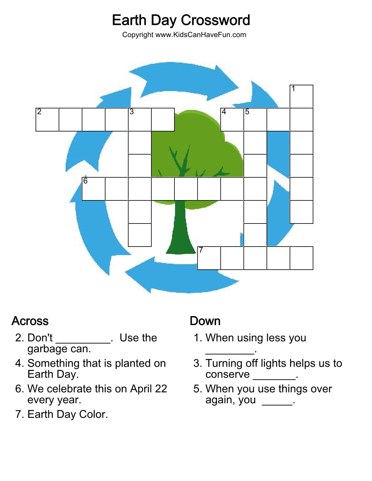 Earth Day Crossword Puzzle Dscanhavefun