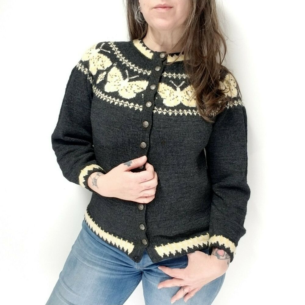 d721697677 vtg Hand Knit Nordic Danish Wool Cardigan Sweater Gray Yellow Butterfly  Fits S M