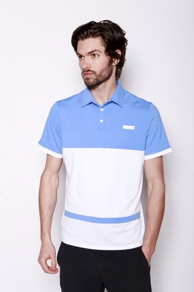 Hicks Polo | Whether you're hitting a round on the weekend or heading to the courts after work, the Hicks Polo features sharp contrasting Sky Blue color detail, providing an understated look that doesn't sacrifice on performance. Features 3 button placket front closure.