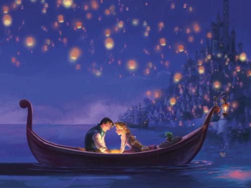 Rapunzel And Flynn Silhouette Easily Done Advices Tangled Boat Silhouette In 2020 Boat Silhouette Tangled Lanterns Scene Disney Paintings