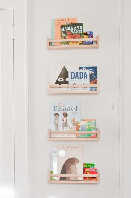 Ikea Kallax with painted ikea spice racks for books