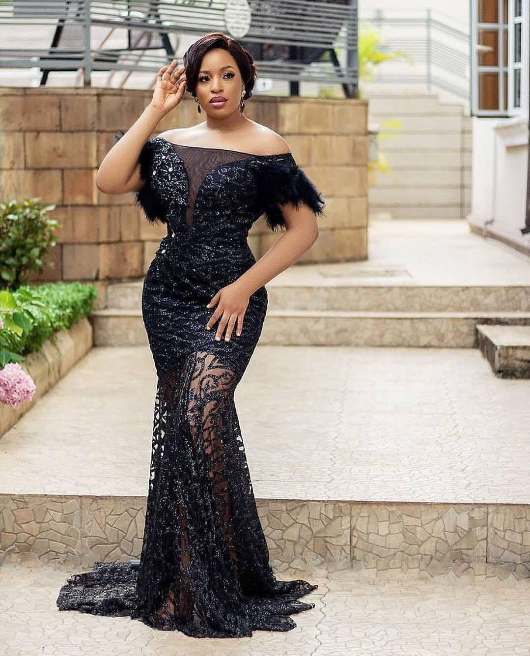 15 Black Lace Asoebi Styles To Make You Look Fabulous This Weekend In 2020 Lace Fashion Aso Ebi Lace Styles African Lace Dresses