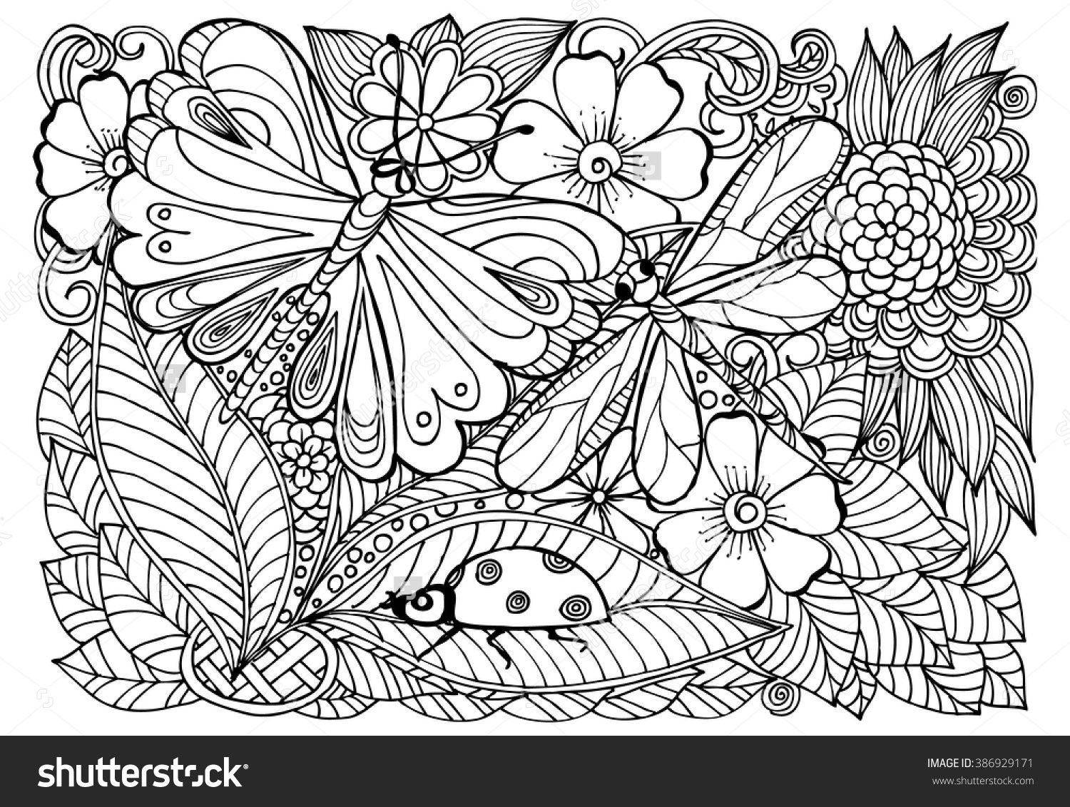 Vector doodle flowers in black and white. Floral pattern with ...