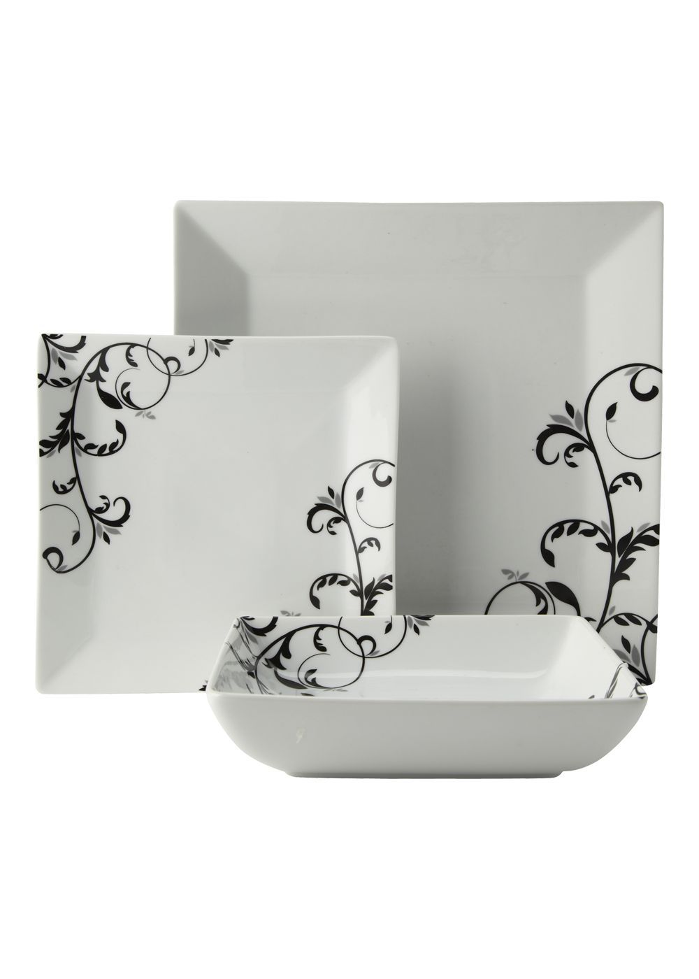 480d936c6624 Matalan - Swirl Pattern Square 12 Piece Box Set in white and black - This  is my ideal dinner set, I think square plates are so stylish <3  #MatalanMostWanted