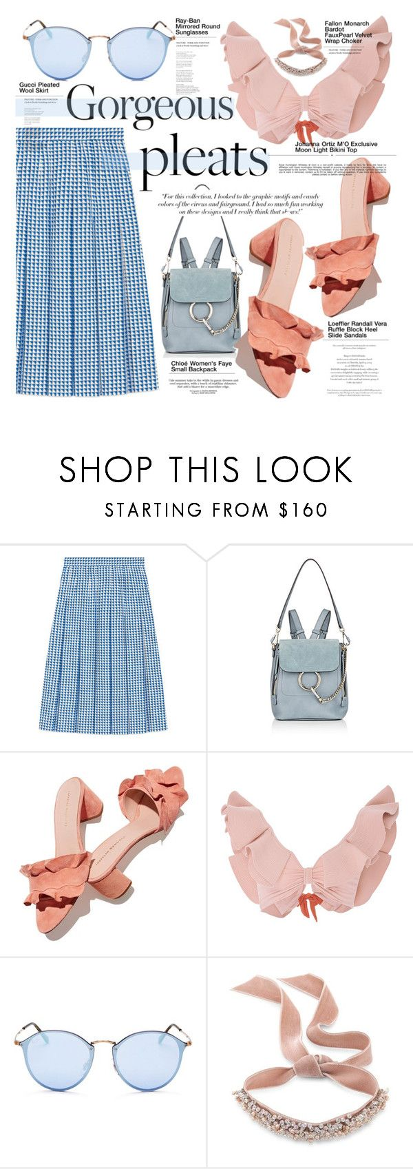 """Pleats"" by merrygorounds ❤ liked on Polyvore featuring Gucci, Chloé, Victoria Beckham, Loeffler Randall, Johanna Ortiz, Ray-Ban, Baku, Whiteley, Fallon and skirt"