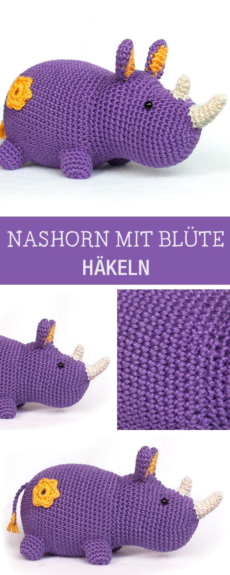 Kostenlose Häkelanleitung für ein Amigurumi Nashorn mit Blüte / amigurumi tutorial: crocheted hippo via DaWanda.com #amigurumitutorial