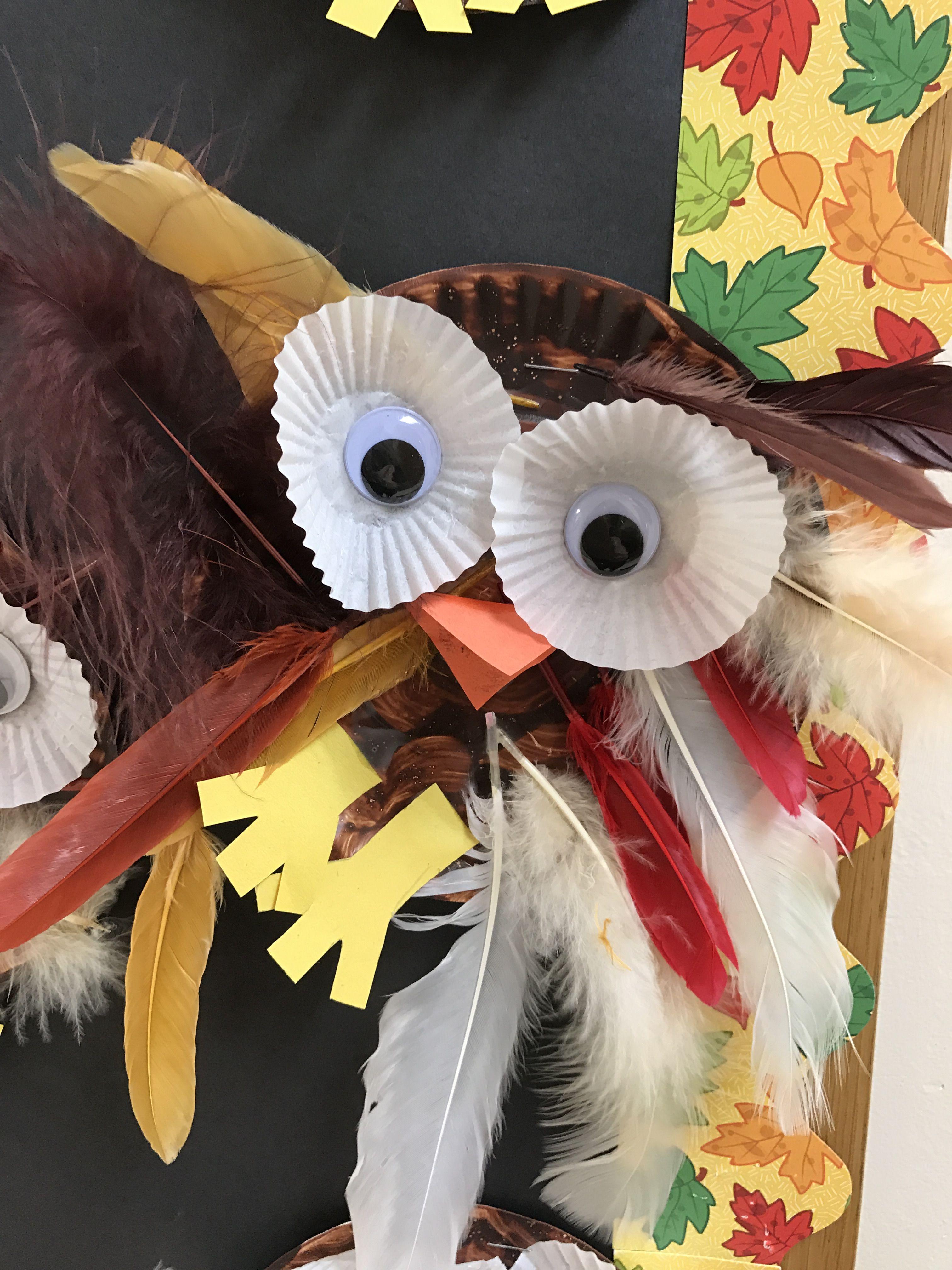 Fall Preschool Art Owl Feathers Cupcake Inserts