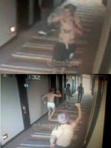 Harry and niall caught on the hotels security cameras in