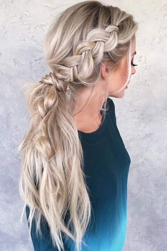 42 Gorgeous Wedding Hairstyles---to the side braided pony tail wedding hairstyles for long hair #sidebraidhairstyles