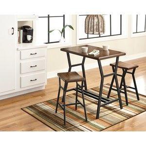 Ashley Furniture Charlotte 3-Piece Bistro Set - Dark Brown
