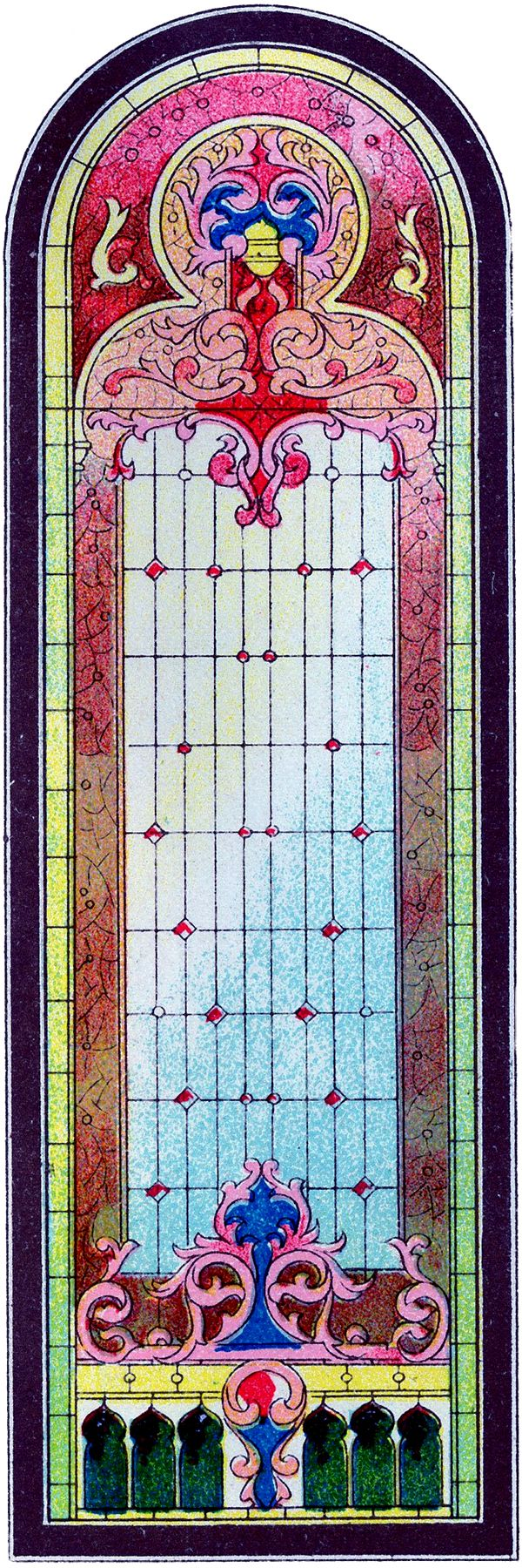 beautiful stained glass church window clip art