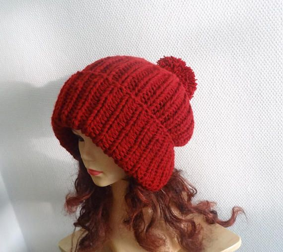 8f677c0c6ab Super Slouchy Beanie Big Baggy Hat Slouchy with pompom Women Hat ...