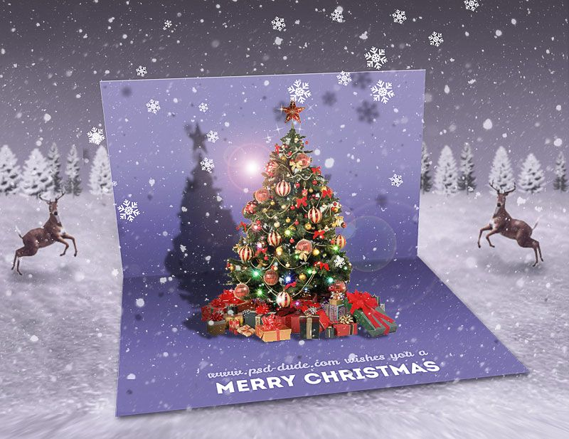 Create A Christmas Pop Up Greeting Card In Photoshop Christmas Card Template Christmas Card Tutorials Pop Up Christmas Cards