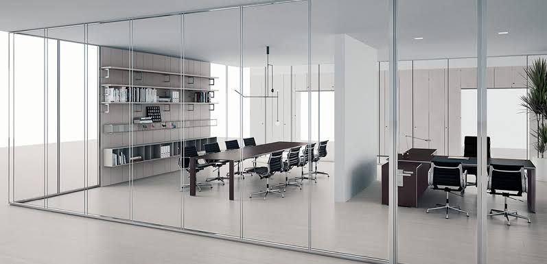 Partition Walls And Glass Doors For Kitchen And Living Room
