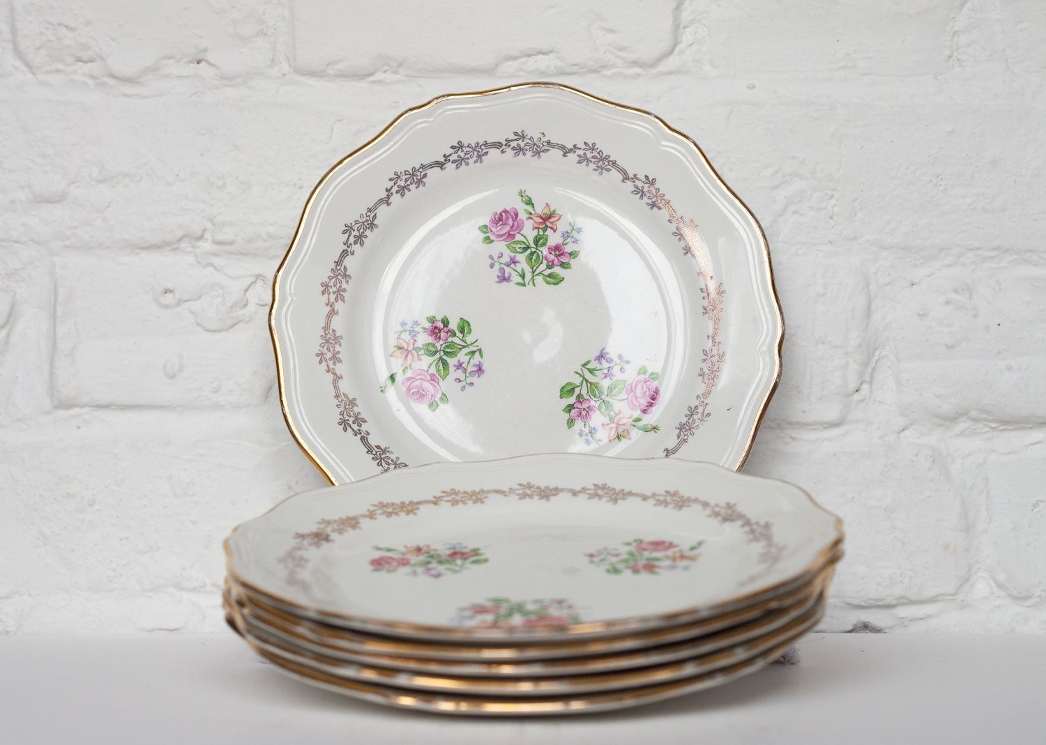 Set of six French vintage porcelain plates with a floral decor by lu0027Amandinnoise. & Set of six French vintage porcelain plates with a floral decor by l ...