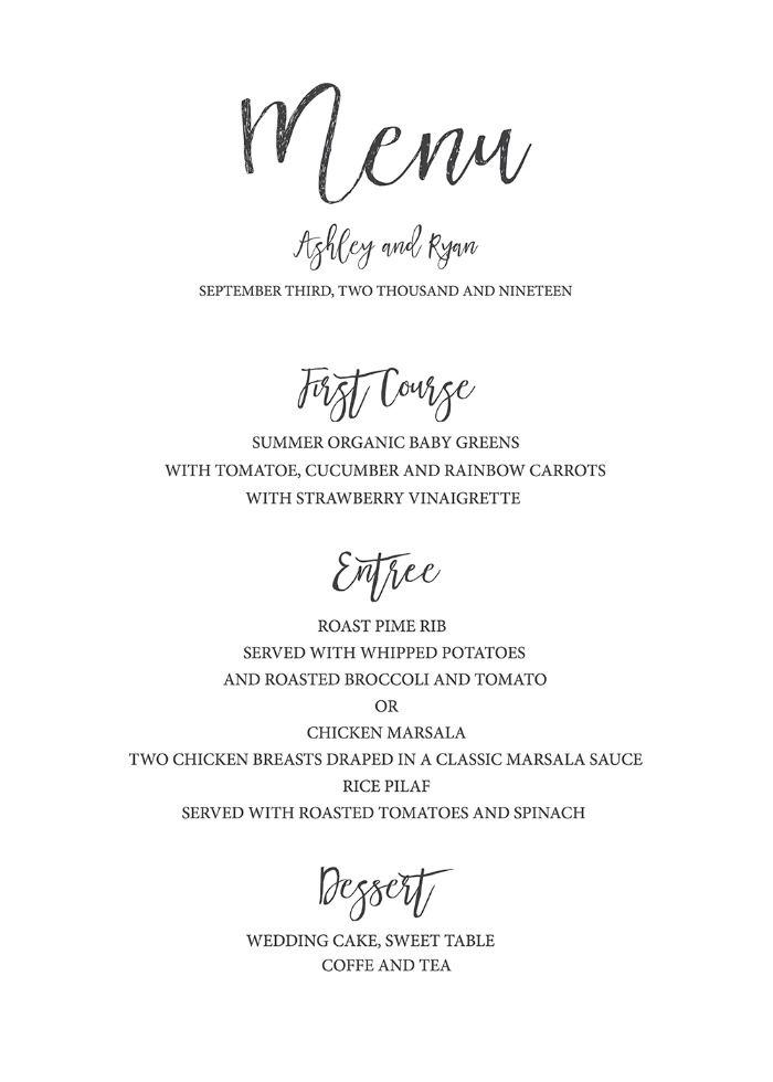 Timeless and Simple Free Printable Wedding Menu in 2019