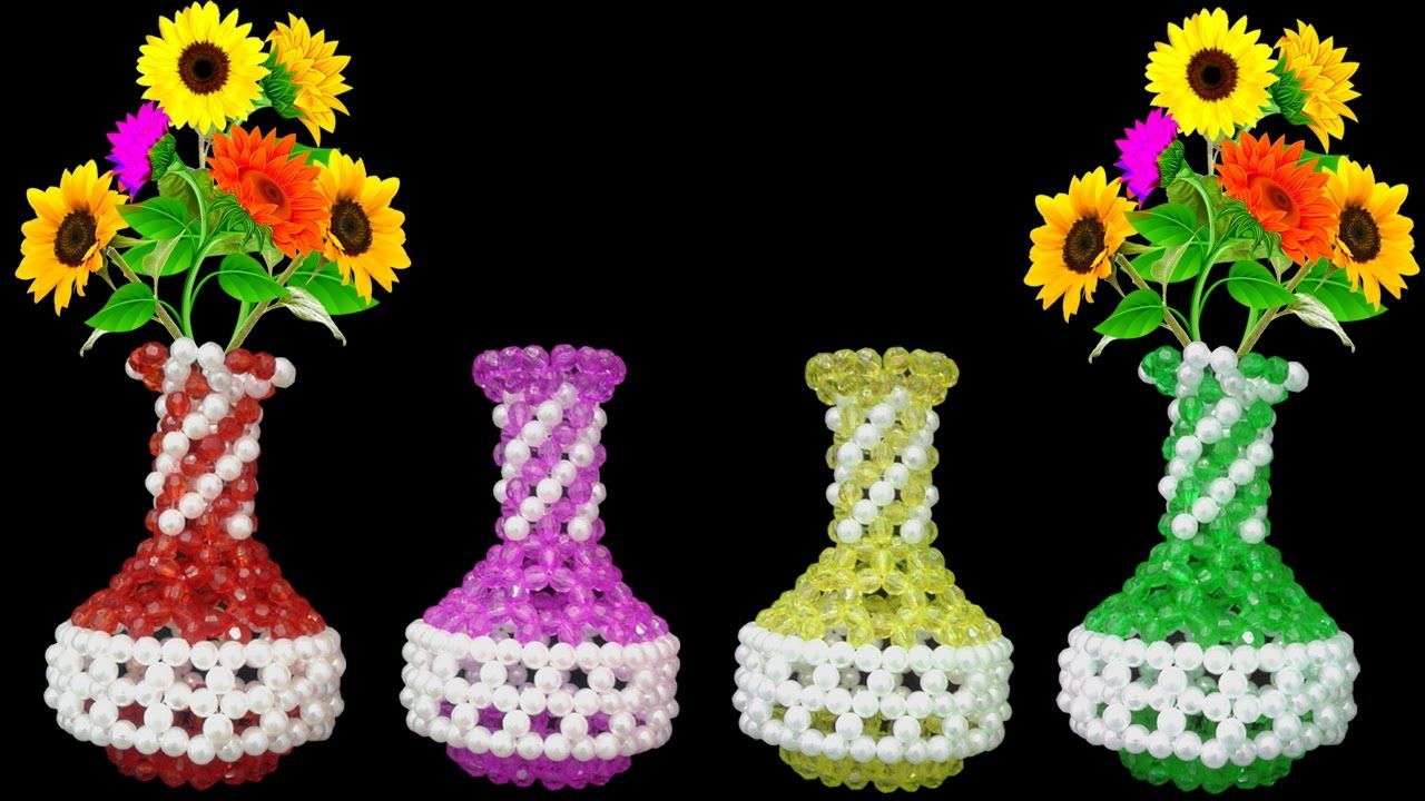 168 & How To Make Flower Vase || Beaded Flower Vase || Flower Pot ...