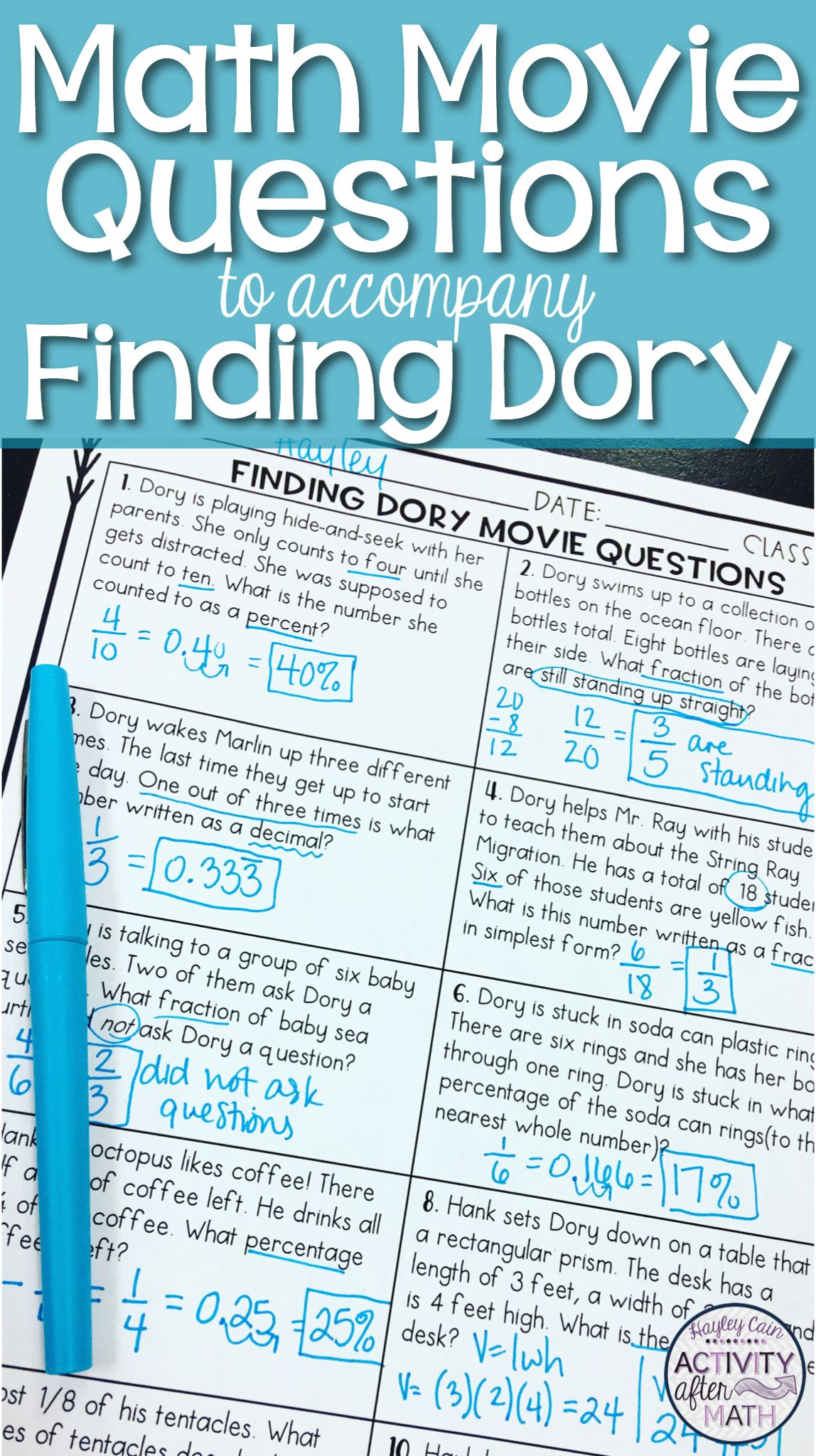 Math Movie Questions to accompany Finding Dory End of the Year ...