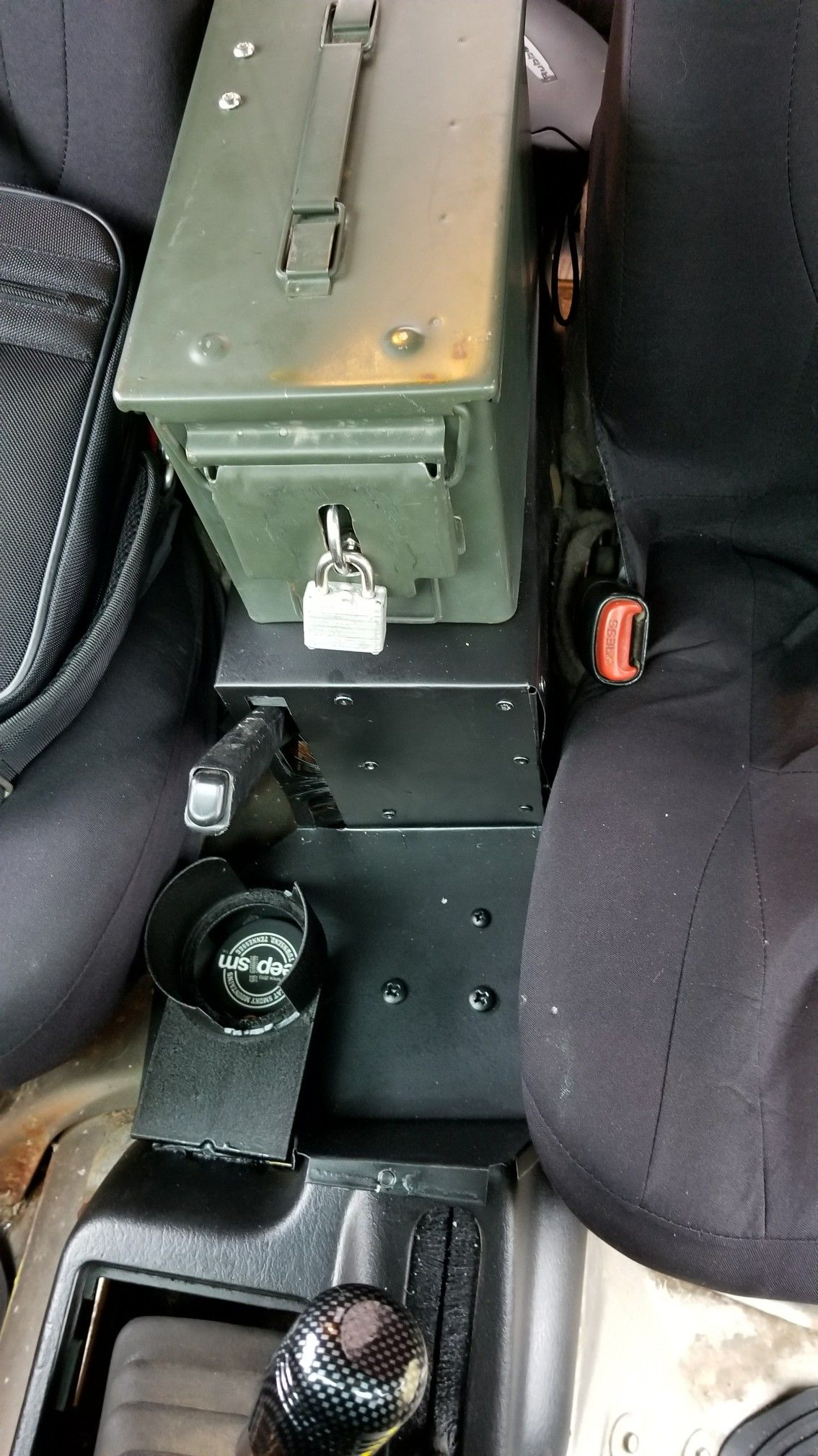 Ammo Can On Aluminum Subwoofer Cover Put A Lock It And Jeep Cj7 Installed Cup Holder