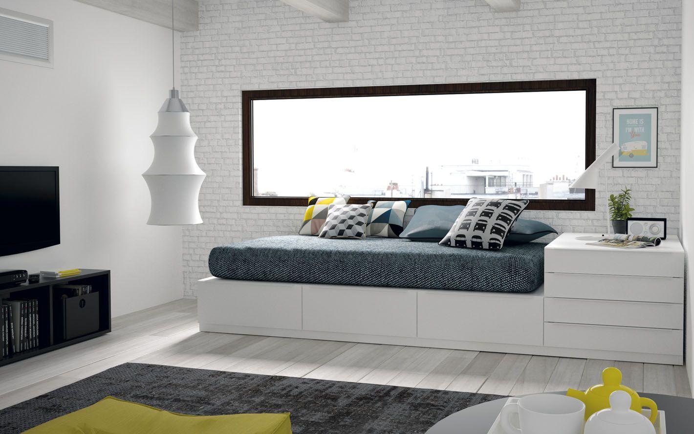 cama moderna con cajones blanca | decoração | Pinterest | Camas ...