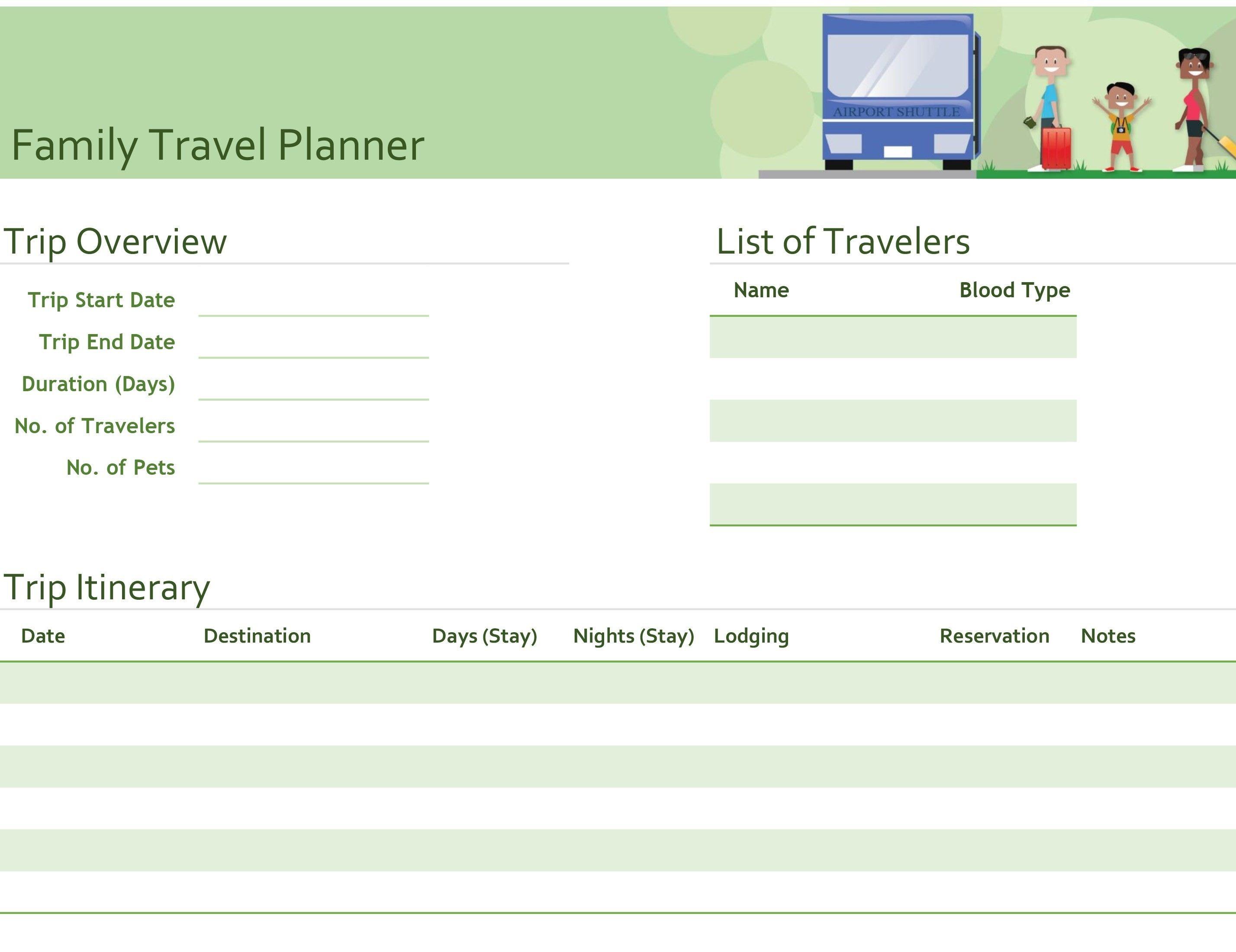 New Travel Itinerary Template Word xls xlsformat