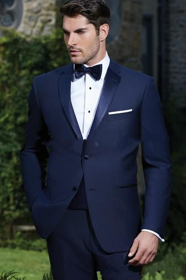 Custom Made Two Ons Navy Blue Groom Tuxedos Notch Lapel Groomsmen Mens Wedding Dress Clothing Prom