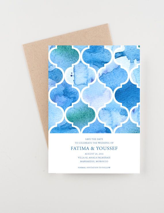 Watercolor Morocco Save The Date, Destination India, Bridal Shower