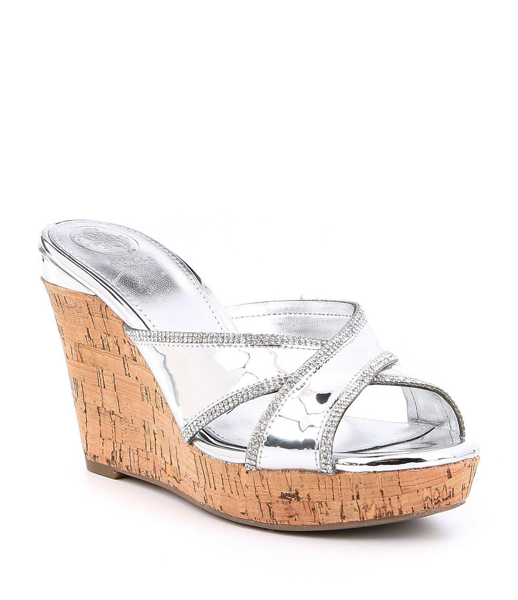 Eleonora Metallic Rhinestone Detail Wedge Sandals dE1ENfg
