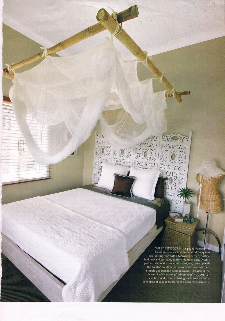 Mosquito Net Frame Made Of Bamboo Sticks Handy And Beautiful Bamboo Decor Bamboo Diy Bamboo Bed Frame