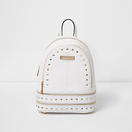 03c96a709d2 White studded mini backpack - backpacks - bags / purses - women ...