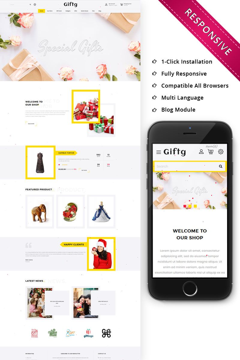 Giftg The Gift Shop Responsive Opencart Template Shopdesign Opencart Opencart Templates Online Gift Store Ecommerce Template