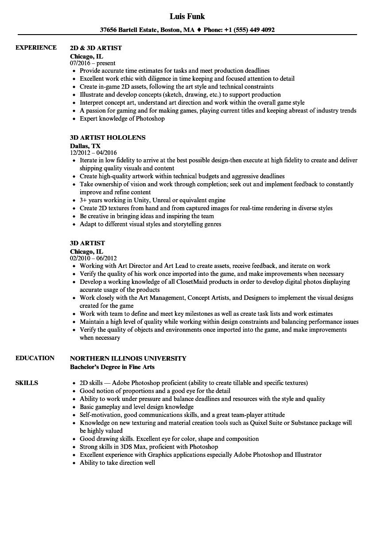 Cv Template 3d Artist Resume Format Artist Resume Resume Template Examples Resume Template