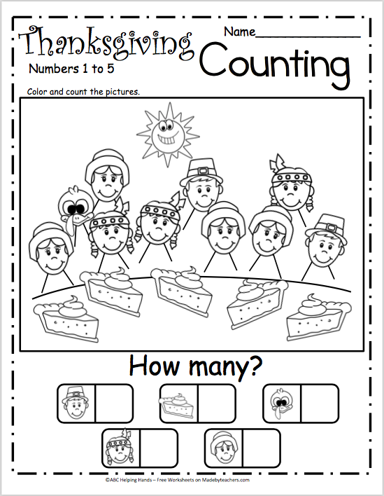 Free Counting Worksheets for Kindergarten - Thanksgiving Pie ...
