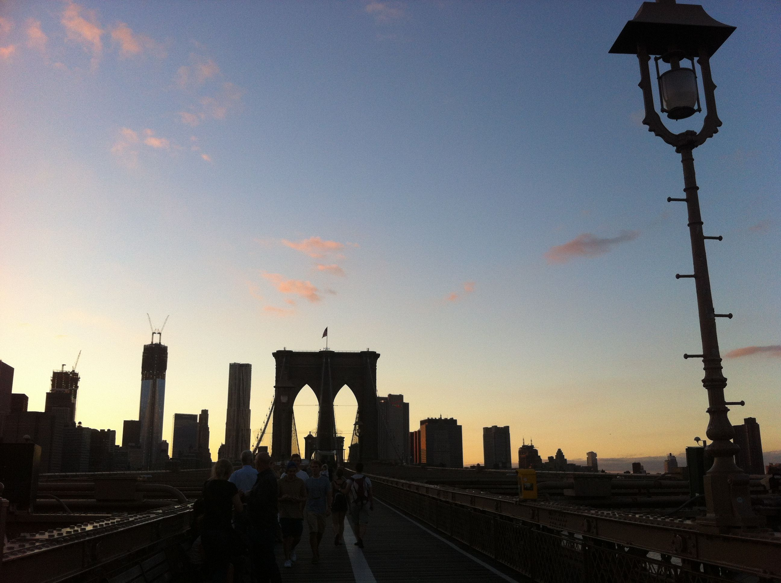 View of Brooklyn Bridge and the World Trade Centre, Brooklyn, NYC