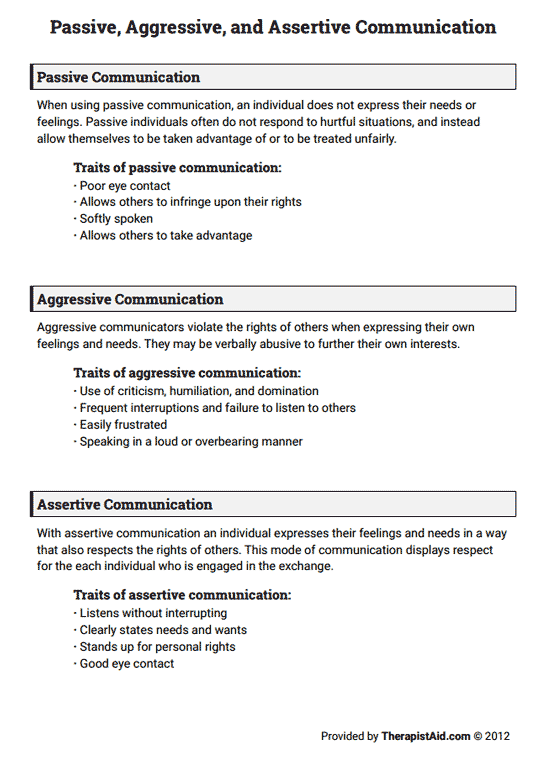 Passive Aggressive And Assertive Communication Worksheet Group