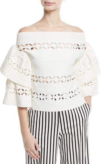 c5b5f3e949b7 Self-Portrait Off-the-Shoulder Cutout Knit Top | Products | Tops ...