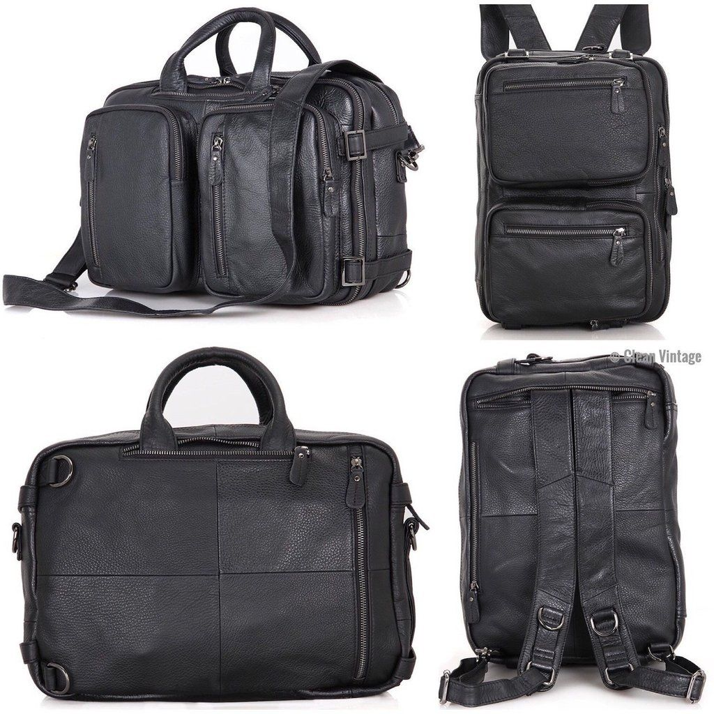 Clean vintage messenger bag backpack black leather