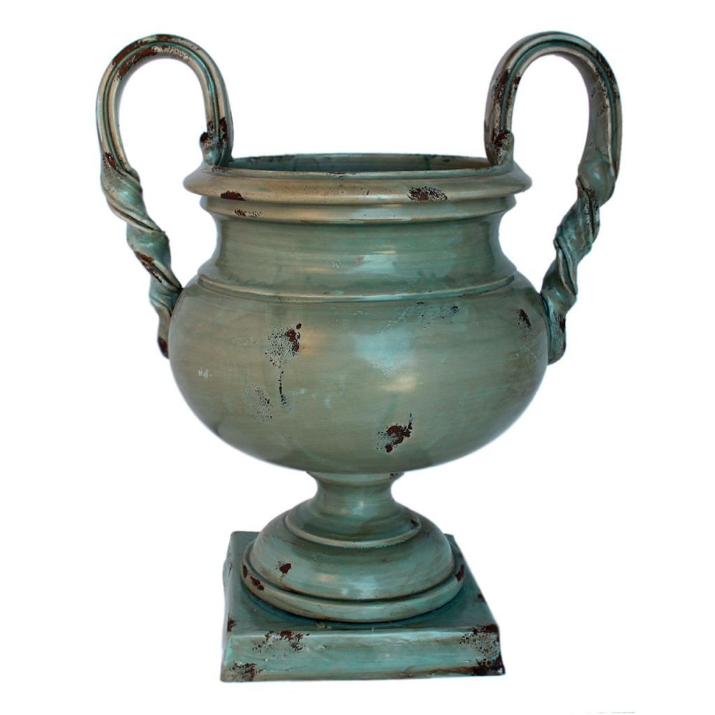 A splendid ceramic Footed bowl with handles, the Roberto is hand sculpted and glazed in a silver-blue base with a patina added for an aged appearance. Available at donjenna.com