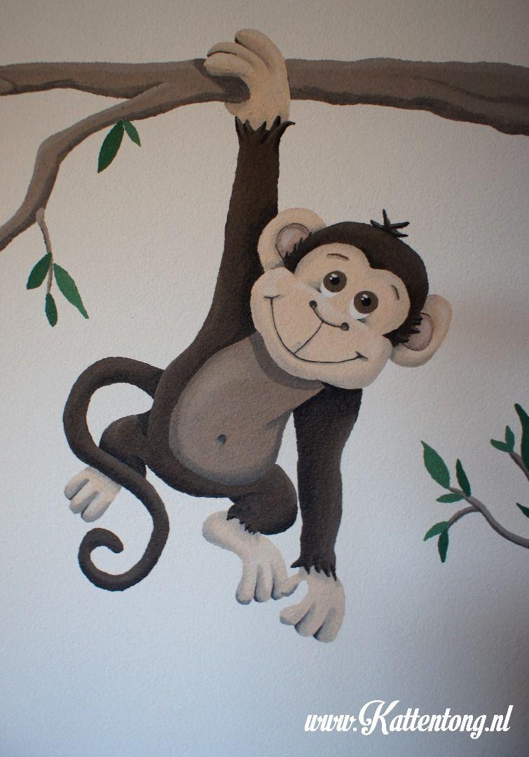 Muurschildering aapje Kattentong Kinderkamers Pinterest