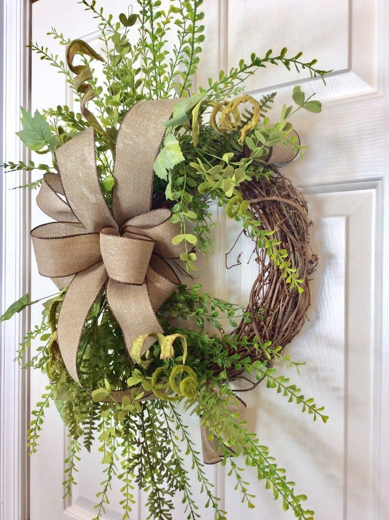 Farmhouse greenery wreath for front door grapevine wreath