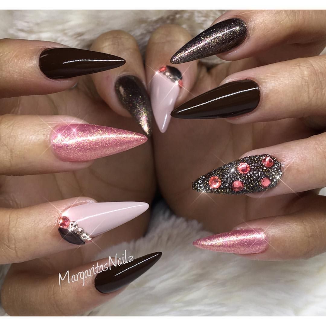 Nude and coral almond nails chocolate brown nail design fashion art ...