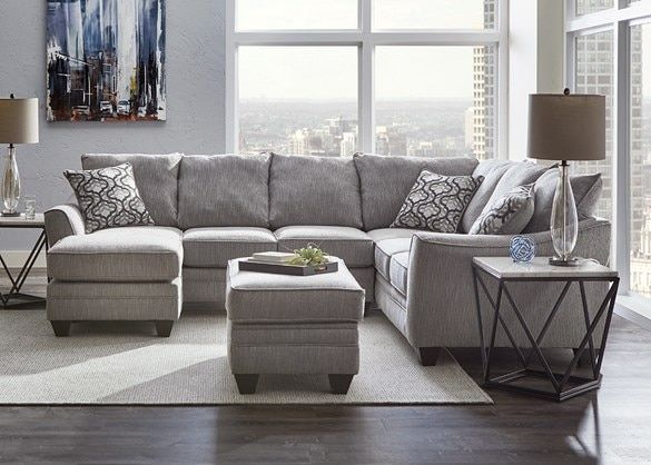 Dante Light Gray 2 Pc. Sectional w/Sofa Chaise (Reverse) - The RoomPlace