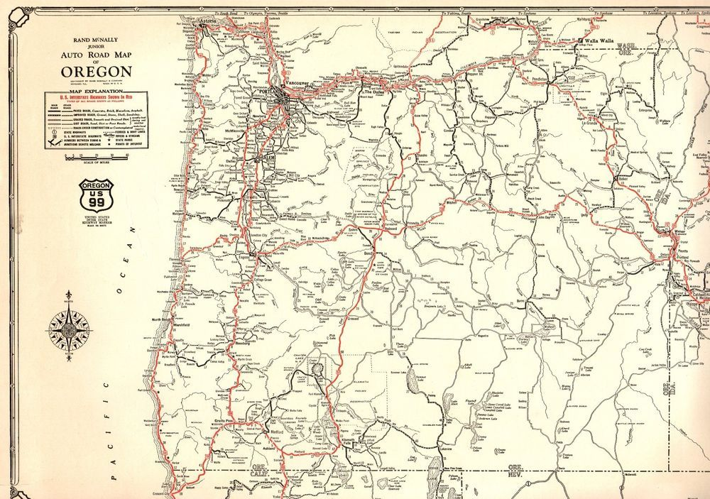 United States Map Oregon.1932 Antique Oregon State Map Auto Trails Road Map Rare Poster Size