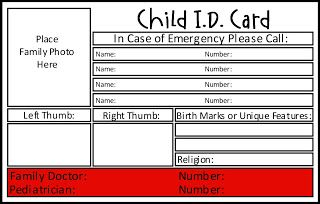Preparedness Project Emergency School Bags Id Card Template Contact Card Template Free Printable Card Templates