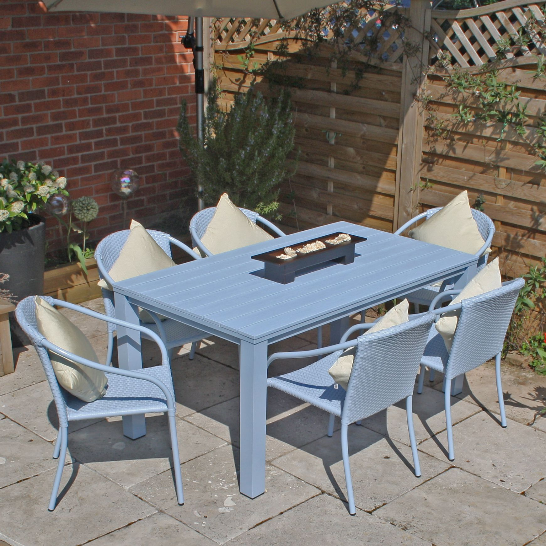 Hampton 6 Seat Farmhouse Rattan Garden Furniture Set - Blue